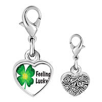 Link Charm Bracelet - 925  sterling silver feeling lucky irish clover photo heart frame link charm Image.