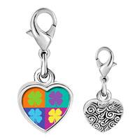 Link Charm Bracelet - 925  sterling silver colorful four leaf clovers photo heart frame link charm Image.
