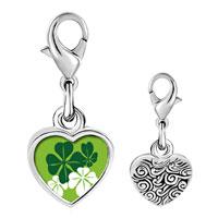 Link Charm Bracelet - 925  sterling silver green four leaf clovers photo heart frame link charm Image.