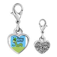 Link Charm Bracelet - 925  sterling silver feeling lucky caterpiller photo heart frame link charm Image.