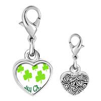 Link Charm Bracelet - 925  sterling silver lucky cloversphoto heart frame link charm Image.