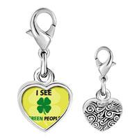 Link Charm Bracelet - 925  sterling silver i see green peoplephoto heart frame link charm Image.