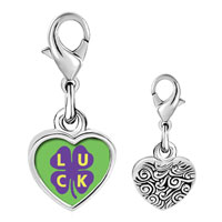 Link Charm Bracelet - 925  sterling silver luck on a purple clover photo heart frame link charm Image.