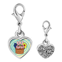 Link Charm Bracelet - 925  sterling silver bunnies in a basket photo heart frame link charm Image.