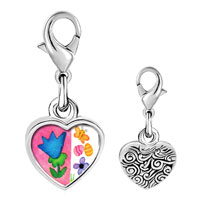 Link Charm Bracelet - 925  sterling silver flowers with butterfly and eggs photo heart frame link charm Image.
