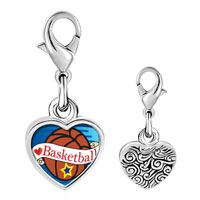 Link Charm Bracelet - 925  sterling silver heart basketball photo heart frame link charm Image.