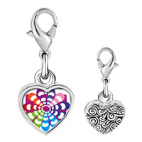 Link Charm Bracelet - 925  sterling silver groovy hypnotic multicolored photo heart frame link charm Image.