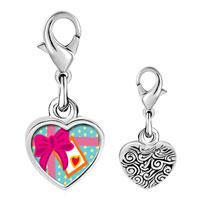 Link Charm Bracelet - 925  sterling silver love gift photo heart frame link charm Image.