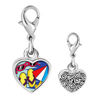 Link Charm Bracelet - 925  sterling silver beach fun photo heart frame link charm Image.