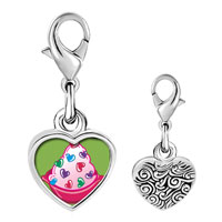 Link Charm Bracelet - 925  sterling silver sweet heart candy photo heart frame link charm Image.