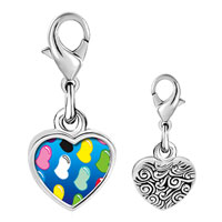 Link Charm Bracelet - 925  sterling silver colorful hearts photo heart frame link charm Image.