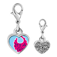 Link Charm Bracelet - 925  sterling silver it' s a girl baby photo heart frame link charm Image.