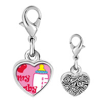 Link Charm Bracelet - 925  sterling silver heart my baby and bottle photo heart frame link charm Image.