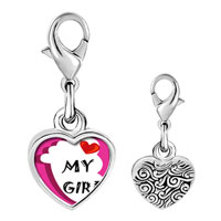 Link Charm Bracelet - 925  sterling silver heart my baby boy foot pink photo heart frame link charm Image.