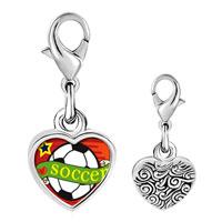 Link Charm Bracelet - 925  sterling silver heart soccer sport photo heart frame link charm Image.