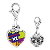 Link Charm Bracelet - 925  sterling silver number 1  football photo heart frame link charm Image.