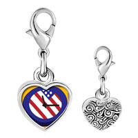 Link Charm Bracelet - 925  sterling silver american flag clock photo heart frame link charm Image.