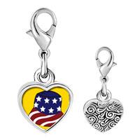 Link Charm Bracelet - 925  sterling silver patriotic american cap photo heart frame link charm Image.