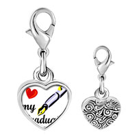 Link Charm Bracelet - 925  sterling silver heart my graduate photo heart frame link charm Image.