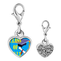 Link Charm Bracelet - 925  sterling silver blue class of 2008  graduation photo heart frame link charm Image.