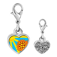 Link Charm Bracelet - 925  sterling silver sunflower in sunlight photo heart frame link charm Image.