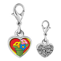Link Charm Bracelet - 925  sterling silver love flower plants photo heart frame link charm Image.