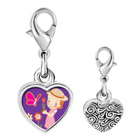 Link Charm Bracelet - 925  sterling silver girl in the garden photo heart frame link charm Image.