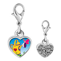 Link Charm Bracelet - 925  sterling silver gardening water bucketphoto heart frame link charm Image.