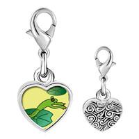 Link Charm Bracelet - 925  sterling silver jumping frog photo heart frame link charm Image.