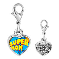 Link Charm Bracelet - 925  sterling silver super mom photo heart frame link charm Image.