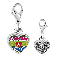 Link Charm Bracelet - 925  sterling silver love grandpa &  grandma photo heart frame link charm Image.