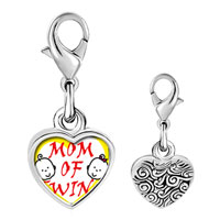 Link Charm Bracelet - 925  sterling silver mom of twins photo heart frame link charm Image.