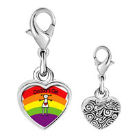 Link Charm Bracelet - 925  sterling silver rainbow daddy' s girl photo heart frame link charm Image.
