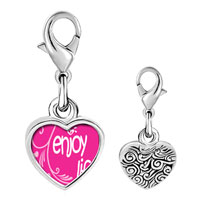 Link Charm Bracelet - 925  sterling silver enjoy life hearts photo heart frame link charm Image.