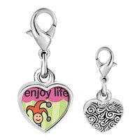 Link Charm Bracelet - 925  sterling silver enjoy life joker photo heart frame link charm Image.