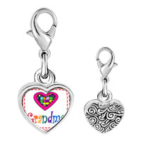 Link Charm Bracelet - 925  sterling silver colorful grandma heart photo heart frame link charm Image.