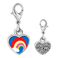 Link Charm Bracelet - 925  sterling silver cloud colorful rainbow photo heart frame link charm Image.