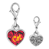 Link Charm Bracelet - 925  sterling silver black gypsy cats photo heart frame link charm Image.