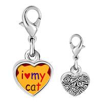 Link Charm Bracelet - 925  sterling silver i heart my cat photo heart frame link charm Image.