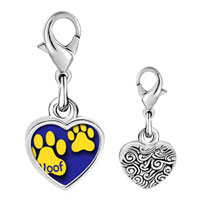 Link Charm Bracelet - 925  sterling silver dog woof paw prints photo heart frame link charm Image.