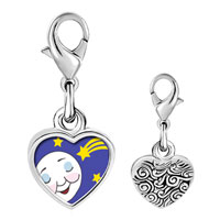 Link Charm Bracelet - 925  sterling silver sleep tight moon and star photo heart frame link charm Image.