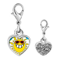 Link Charm Bracelet - 925  sterling silver happy rockin'  sunshine photo heart frame link charm Image.