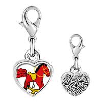 Link Charm Bracelet - 925  sterling silver rocking horse toy photo heart frame link charm Image.