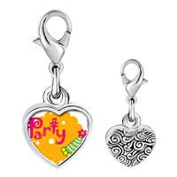 Link Charm Bracelet - 925  sterling silver party celebration hat photo heart frame link charm Image.