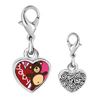 Link Charm Bracelet - 925  sterling silver baby heart bear photo heart frame link charm Image.
