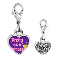 Link Charm Bracelet - 925  sterling silver pretty princess with crownphoto heart frame link charm Image.
