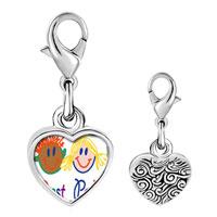 Link Charm Bracelet - 925  sterling silver best pals photo heart frame link charm Image.
