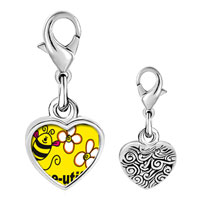 Link Charm Bracelet - 925  sterling silver bee utiful flowers photo heart frame link charm Image.