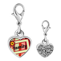 Link Charm Bracelet - 925  sterling silver family flower frame photo heart frame link charm Image.