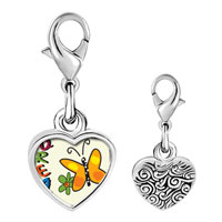 Link Charm Bracelet - 925  sterling silver dream butterfly photo heart frame link charm Image.